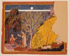 Radha Estranged from Krishna under the moon in th forest. ca. 1665. Mewar, India