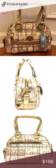 """💕NWOT💕TATTERSALL GRAFFITI DOMED SATCHEL gold Brand new, unused, unworn, Coach Tattersall Graffiti Satchel. PVC accented with unique gold metallic gold leather. Rare retail bag. Brass hardware, outside turn-lock front pocket, also back slip width wide pocket. Zip closure for main compartment, fuchsia sateen fabric interior w/ side zip pocket and 2 slip pockets. Measures 10""""x7""""x5. 5.5"""" drop. Comes with satin dust bag. Coach Bags Satchels"""