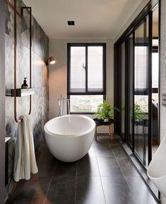 PartyDesign Studio use Metal Frame Glass to Divide Apartment Into Multiple Rooms - InteriorZine Tropical Bathroom Decor, Bathroom Spa, Bathroom Interior, Home Interior, Interior Design, Bathroom Ideas, Bathroom Designs, Bathroom Renovations, Modern Interior