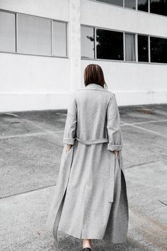 Long, grey, belted coat
