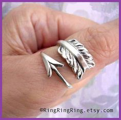 925 Solid Sterling Silver ring  Cupid's Arrow Ring by RingRingRing, $55.00