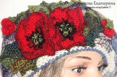 Купить шапка вязаная МАКИ - маки, берет, вышивка, вышивка ручная, фриформ, вязаный, цветной
