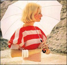 No.416 Women's Knitting Pattern Vintage PDF - Drama Mama Sweater / Puff Sleeve Top - 1970's Retro Boho Knitting Pattern - Instant Download