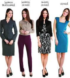 See how RueLaLa breaks down office dress code: http://www.ruelala.com/blog/2012/11/09/tahari/.  Note that even the casual dress option is only a little bit above the knee!