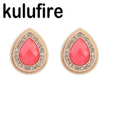 2017 Fashion Jewelry Earrings for Women Water Drop Crystal Stud Earrings Boucle d'oreille femme brincos pendientes mujer moda