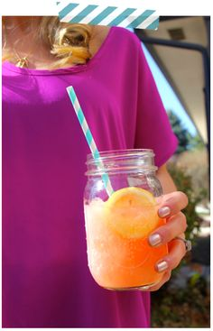 the PERFECT sunny day drink! pink lemonade + vodka + pineapple juice. {click on link on how to make it slushy!}