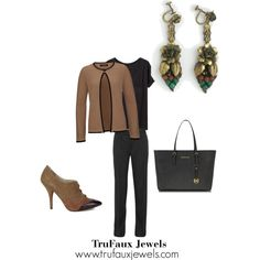 """""""Wearing Statement Earrings to the Office"""": The warm tones in these fabulous Art Deco earrings complement this brown and black outfit to wear to the office and just about anywhere else."""