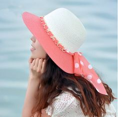 Womens straw hat with polka dot bow beach sun hats summer wear UV