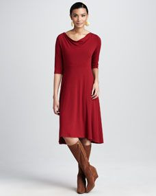 Drape-Neck Jersey Dress, Womens  from Neimans...dress is 218.00.  Available inblack too.  boots not on site...beautiful tho.