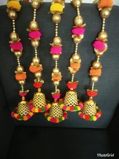 Diwali Decoration Items, Ganpati Decoration At Home, Diwali Decorations At Home, Hanging Door Beads, Door Hanging Decorations, Diwali Diy, Diwali Craft, Handmade Wall Hanging, Wall Hanging Crafts