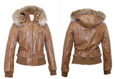 Tan Leather Hooded Bomber Jacket