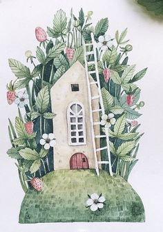 Cool Art Drawings, Beautiful Drawings, Colorful Drawings, Art Sketches, Watercolor Scenery, Watercolor Plants, Floral Watercolor, Kawaii Illustration, Watercolor Illustration