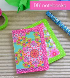 Colorful DIY Notebooks - Easy peasy and oh so cute! EverythingEtsy.com #diy #backtoschool