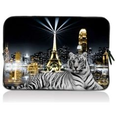 "City White Tiger 17.1"" 17.3"" inch Laptop Bag Sleeve Case for Apple MacBook pro 17/Dell Inspiron 17R Vostro XPS Alienware M17x/Samsung 700 Sony Vaio E 17/ HP dv7"