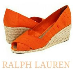 "Espadrille Wedge Espadrille wedge features a shantung (type of silk) upper in a tangerine color and jute outsole. Classic peep-toe silhouette. 2 1/2"" wedge heel makes it comfortable yet chic. Padded insole. Great condition! Ralph Lauren Shoes"