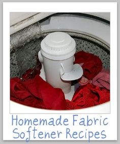 Homemade Fabric Softener:    This recipe did not have an image but I liked it best compared to others out there.  Read the comments for tips on how best to make it: http://www.food.com/recipe/homemade-fabric-softener-179890