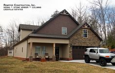 Rempfer Construction, Inc. Stone Siding, Stone Veneer, Columns, Shed, Construction, Outdoor Structures, Cabin, House Styles, Home Decor
