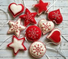 Felt christmas ornaments, classic Christmas decoration, red white decoration, heart star traditional ornaments, embroidered snowflake decor by DusiCrafts on Etsy https://www.etsy.com/listing/186737899/felt-christmas-ornaments-classic