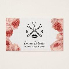 Floral Beaty Salon Makeup Artist Hair Stylist Business Card