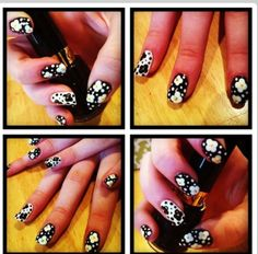 Black and white flower nails