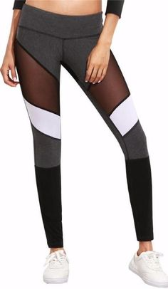 Grey and White Angled Mesh Leggings Mesh Workout Leggings, Mesh Insert Leggings, Mesh Leggings, Workout Pants, Grey And White, Black, Colorful Leggings, Fit Women, Gray Color