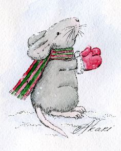 Watercolor Christmas Cards, Christmas Drawing, Watercolor Cards, Animal Drawings, Art Drawings, Maus Illustration, Photo Illustration, Mouse Paint, Christmas Rock