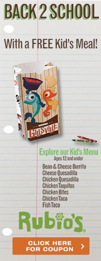 Go Back 2 School with Rubio's! Get a #FREE Kid's Meal with this coupon. Expires 9/1/13.