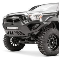 Toyota Tacoma Vengeance Full Width Black Powder Coat Front HD Bumper with Pre-Runner Guard by Fab Fours®. Toyota Tacoma Off Road, 2015 Toyota Tacoma, Tacoma 2012, Toyota Tacoma Bumper, Tacoma Accessories, Jeep Wrangler Accessories, Truck Accessories, Toyota 4runner Trd, Toyota Tundra