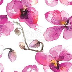 Watercolor hand-drawn orchid flowers seamless background