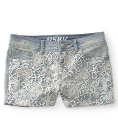 Kids' Crochet-Front Light Wash Denim Shorty Shorts