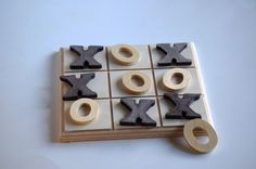 Wooden -Waldorf- Kids -Toy-Natural Wood Toy- Tic Tac Toe Wood Game. $16.00, via Etsy.