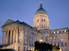 Kansas State Capitol in Topeka: The Kansas State Capitol in Topeka at sundown Topeka Kansas, University Of Kansas, U.s. States, United States, Pilgrimage To Mecca, Heart Of America, Capitol Building, Life Goes On, Usa