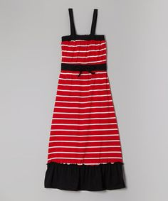 Look at this #zulilyfind! Chillipop Red & Black Stripe Maxi Dress - Girls by Chillipop #zulilyfinds