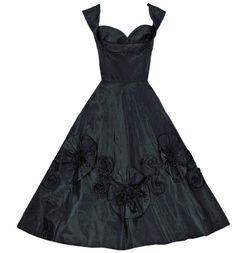 1950's Black Embroidered-Swirl Taffeta Dress