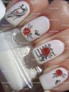 Romantis Red Rose Nail Art nail water decals nail transfers nail wraps on Bonanza