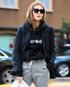 """223 Likes, 11 Comments - SHOP: Who What Wear (@shopwhowhatwear) on Instagram: """"Seen on every street style star, the hooded sweatshirt is having a major moment. Click the link in…"""""""
