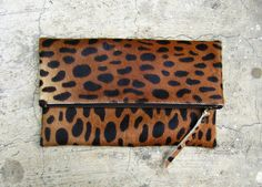 Image of Limited Edition Leopard Print Calf Hair Fold Over Zipper Leather Pouch