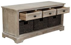 Oslember Storage Bench | Ashley Furniture HomeStore Basket Weaving, Woven Baskets, Metal Drawers, At Home Store, Living Furniture, Drawer Pulls, Engineered Wood, Mudroom