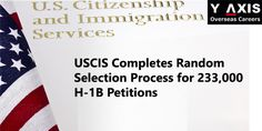 USCIS already completed lottery process for 233,000 H-1B petitions! Premium processing no later than May 11, 2015! For more news and updates on immigration and visas, please subscribe to #Y-Axis News