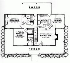 Country Style House Plans - 1250 Square Foot Home , 1 Story, 2 Bedroom and 2 Bath, 0 Garage Stalls by Monster House Plans - Plan 9-109