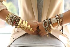 Love everything about this. Nude and grey together and tons of fun bracelets.