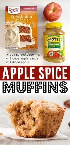 Spice Cake Mix Recipes, Cake Mix Desserts, Easy Desserts, Dessert Recipes, Breakfast Recipes, Cakes From Cake Mix, Breakfast Ideas, Breakfast Cupcakes, Cookie Desserts