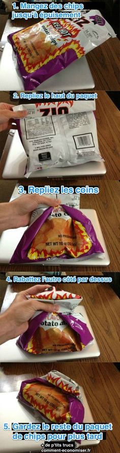 Plus besoin d'acheter des paquet de chips individuels qui coûtent plus cher. Voici comment replier votre paquet en utilisant uniquement le sachet.  Découvrez l'astuce ici : http://www.comment-economiser.fr/refermer-paquet-chips.html?utm_content=buffere6626&utm_medium=social&utm_source=pinterest.com&utm_campaign=buffer