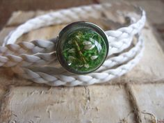 White bracelet with real moss and white heather by zusnA on Etsy