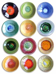 Trinket dishes, each fired with a different colored marble in it!  cute for jewelry drawer