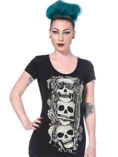 "Women's ""See, Speak, Hear No Evil"" Tee by Jawbreaker (Black) #InkedShop #skull…"