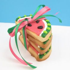 Watermelon cookies for spring/summer parties.