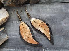 Long bohemian earrings. Leather earrings. Bronze by VelmaJewelry