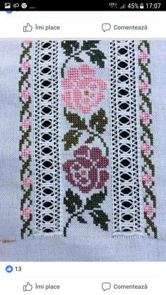 Cross Stitch Bookmarks, Cross Stitch Borders, Cross Stitch Rose, Cross Stitch Flowers, Cross Stitch Charts, Cross Stitch Designs, Cross Stitching, Cross Stitch Patterns, Hardanger Embroidery