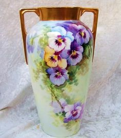 "Beautiful Vintage H & Co. Selb Bavaria 1900's Hand Painted ""Purple, White, & Yellow Pansy"" 9-3/4"" Vase"